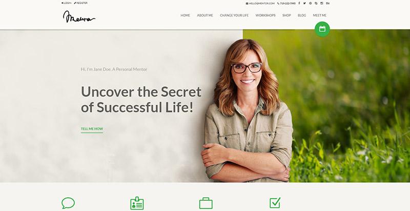 Mentor themes wordpress creer site web coaching vie sante developpement personel nutrition
