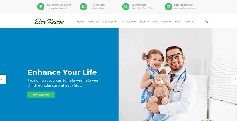 Pediatrician themes wordpress creation sites web hopital clinique dispensaire