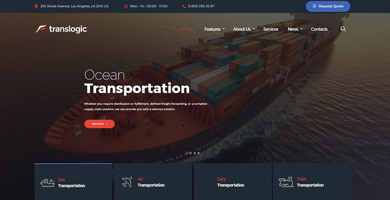 Translogic themes wordpress creer site web entreprise logistique transports fret expedition