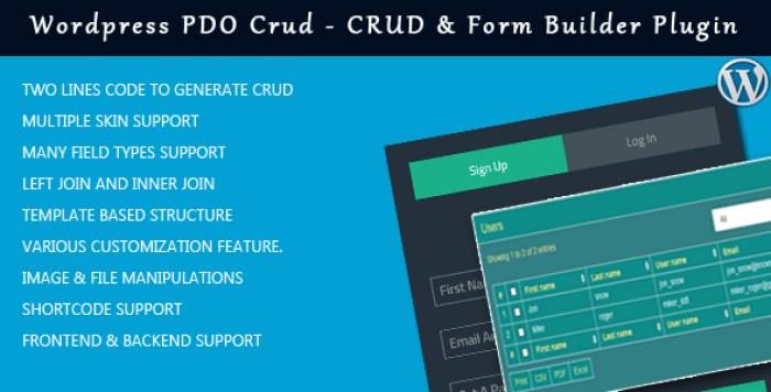 Wordpress pdo crud plug-ins para wordpress inserir tabelas gráficos website blog formulário