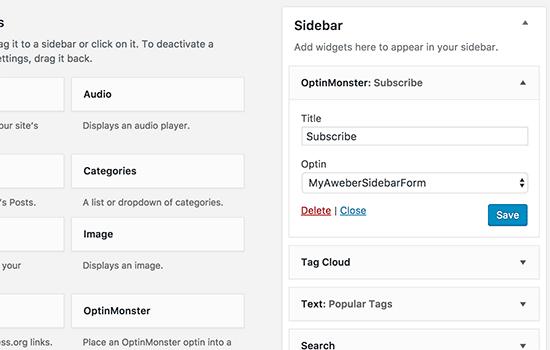 Ajouter un widget optin monster sur wordpress