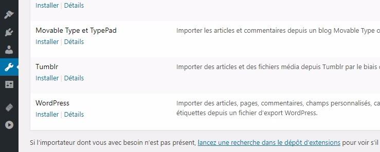 Importer du contenu sur wordpress