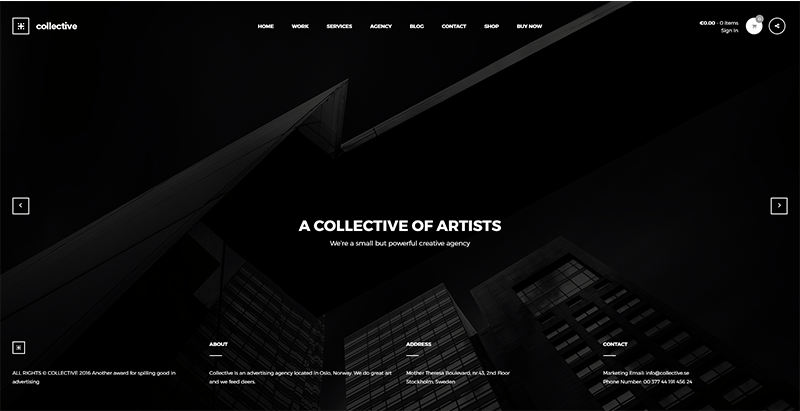 Collective themes wordpress creer site web agence creative architecte entreprise