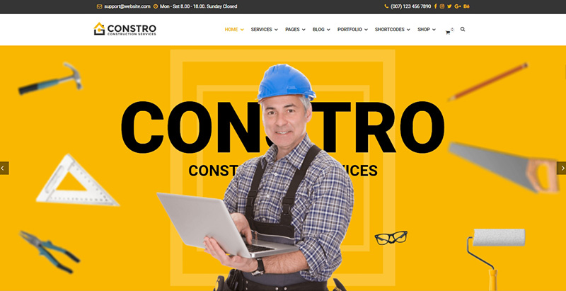 Constro themes wordpress creer site internet entreprise construction renovation