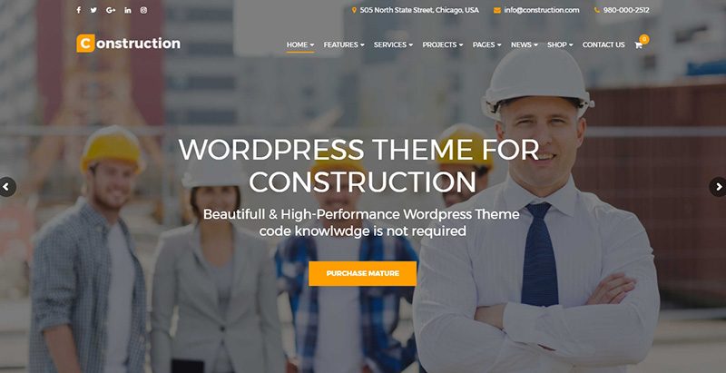 Construction themes wordpress creer site internet entreprise construction renovation