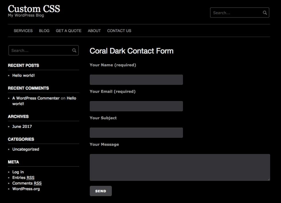 Контактная форма Coral dark