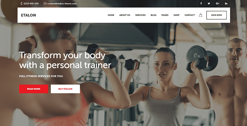 Etalon theme wordpress creer site internet club fitness