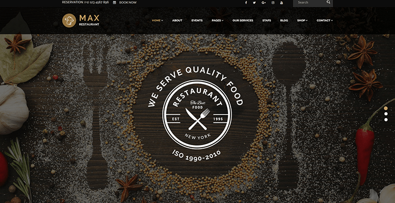 Max restaurant themes wordpress creer site web restaurant cuisine recettes