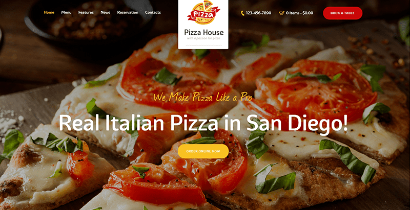 Pizza house themes wordpress creer site web pizzeria restaurant boulangerie vendre pizza