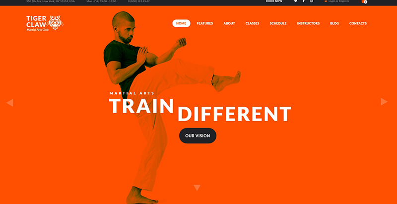Tiger claw theme wordpress creer site internet club fitness
