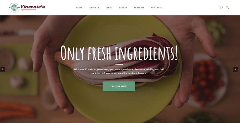 Vincentes 테마 워드 프레스는 웹 사이트 레스토랑 요리 조리법을 만듭니다 1