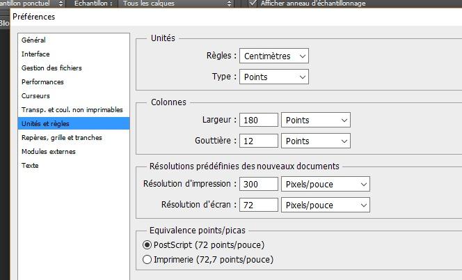 Configuration règles et unité photoshop