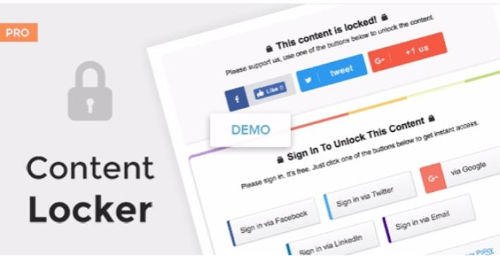 I plugin di Content Locker pro wordpress bloccano il contenuto del sito web