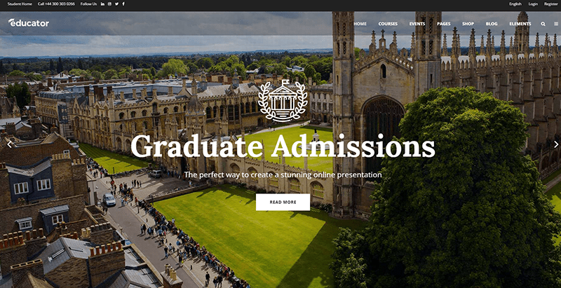 Educator themes wordpress creer site web college lycee universite