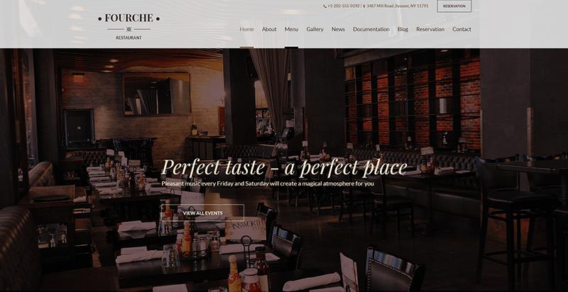 Fourche 테마 wordpress 웹 사이트 만들기 레스토랑 비스트로 베이커리