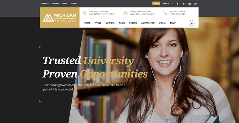 Michigan themes wordpress creer site web college lycee universite