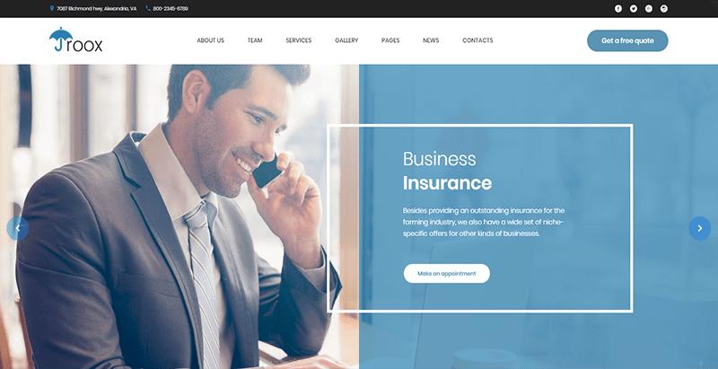 Roox Theme Wordpress Creer Site Web Entreprise Assurance Finance