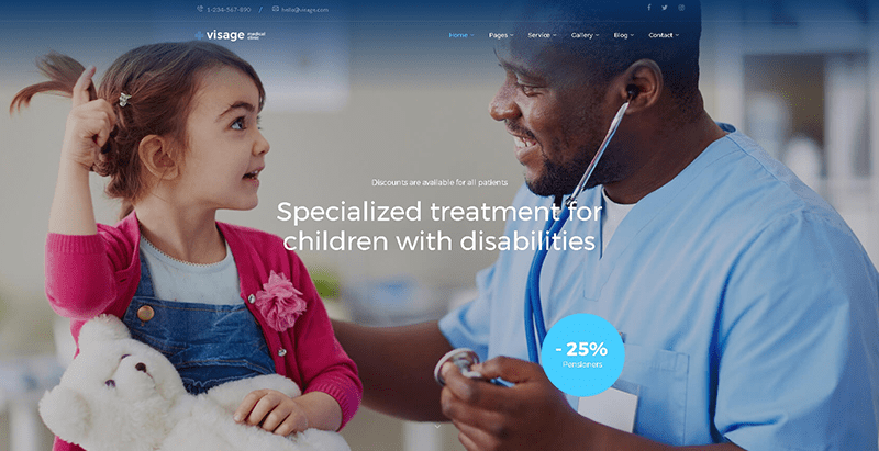Visage themes wordpress creer site web clinique sante hopital