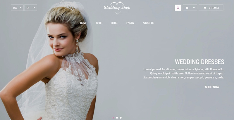 Weddingshop themes wordpress creer site e commerce boutique en ligne