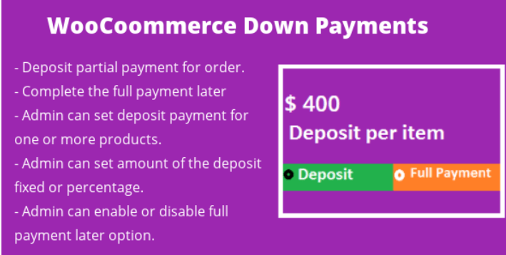 Woocommerce deposit down payments