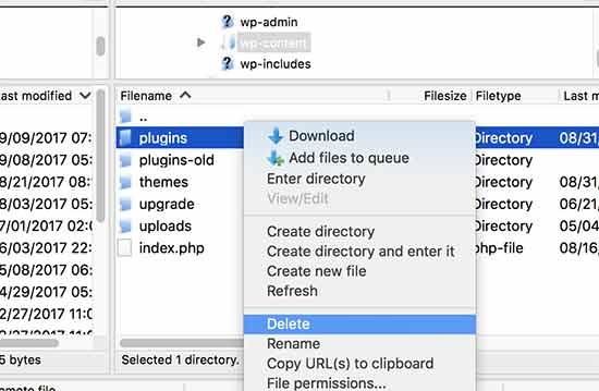 Supprimer des plugins wordpress