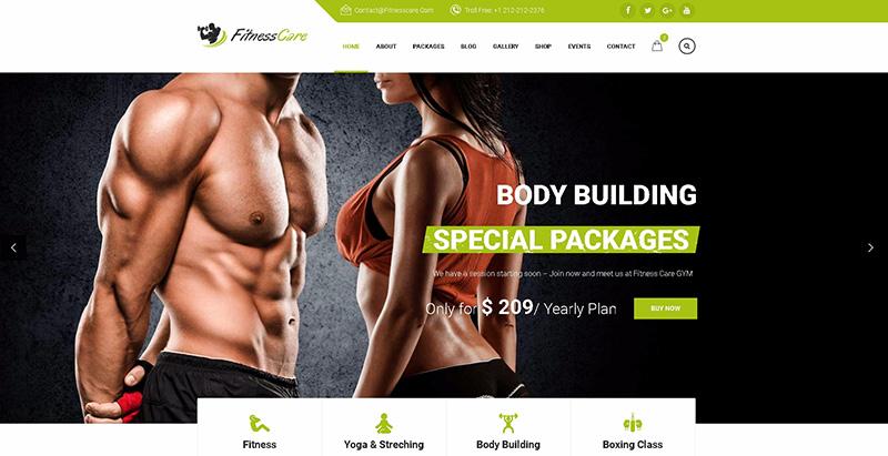 meilleurs thèmes WordPress de club de fitness - Fitness care themes wordpress creer site web clubs fitness yoga