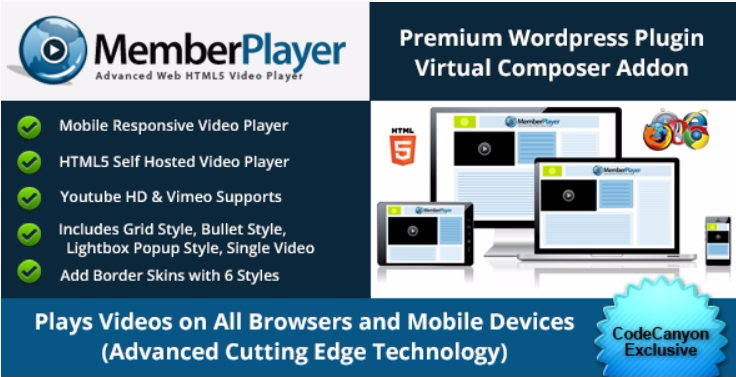Memberplayer html5 video youtube vimeo