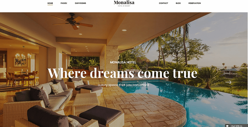 Monalisa themes wordpress creer site web hotel motel auberge