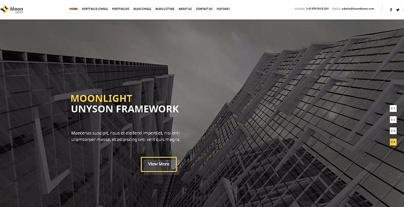 Moonlight themes wordpress creer site web entreprise construction renovation