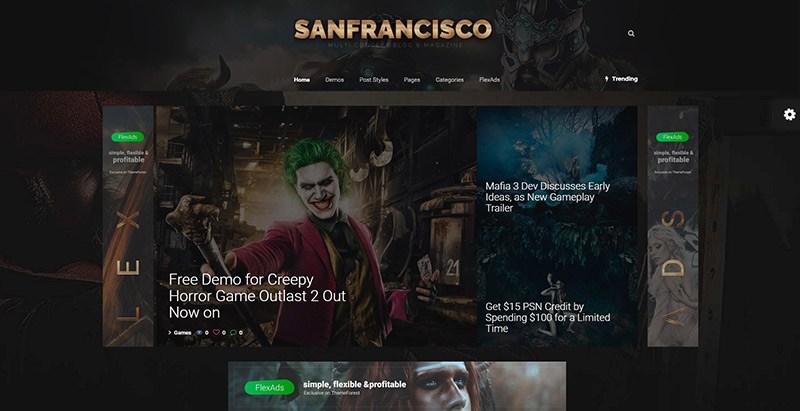 San francisco themes wordpress site internet critique jeux video magazine