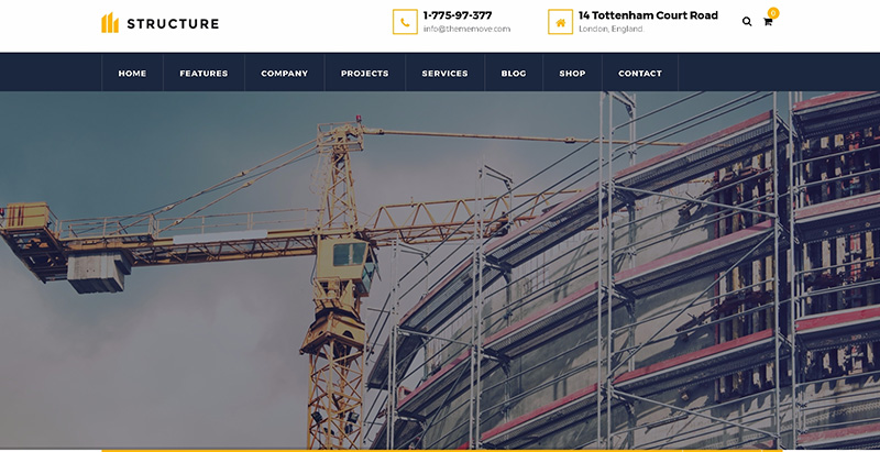 Structure themes wordpress creer site internet entreprise construction