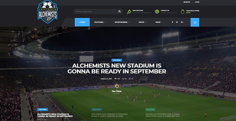 Alchemists themes wordpress creer site web club sport fotball soccer basketball