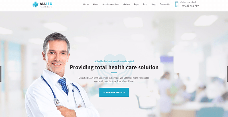 Allied themes wordpress creer site internet dentiste medecin