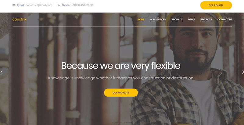 Constrix themes wordpress creer site internet entreprise construction