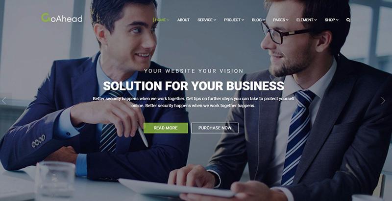 Goahead themes wordpress создать сайт компания стартап агентство sme