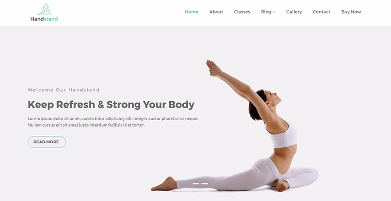 Handstand temas wordpress criar website clube fitness ginásio esporte equipe