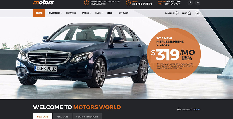 Motorsthemes wordpress creer site internet concessionnaire automobile garage mecanicien