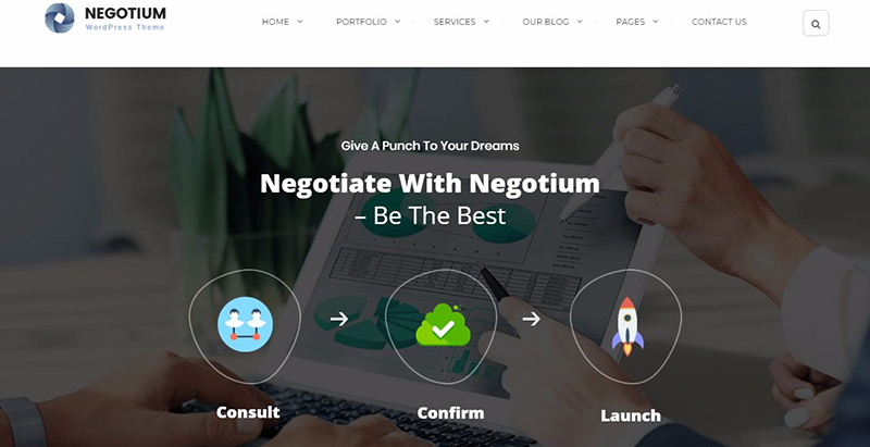 Negotium themes wordpress creer site web agence entreprise pme
