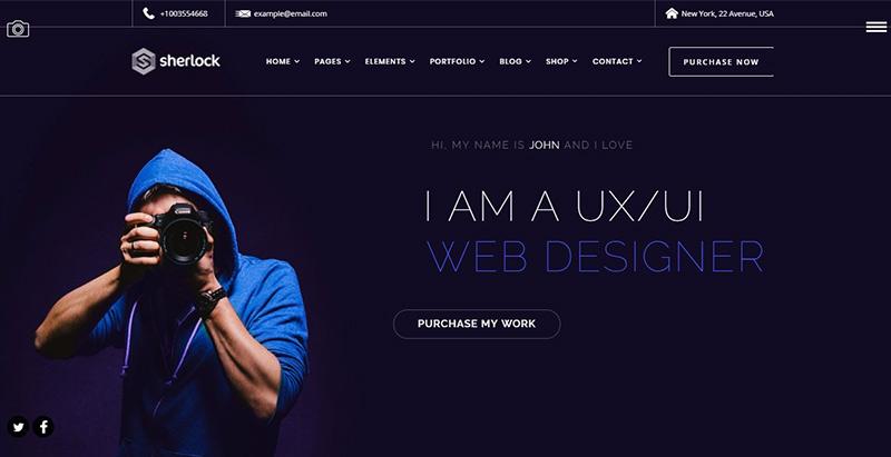 Sherlock themes wordpress creer site web cv entreprise agence pme