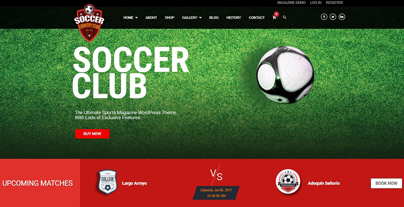 Soccerclub themes wordpress creer site web club sport fotball soccer basketball