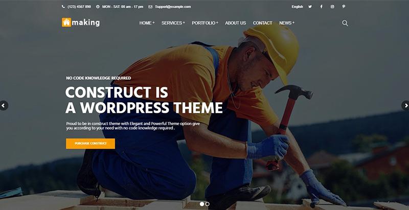 Construct themes wordpress creer site internet entreprise renovation