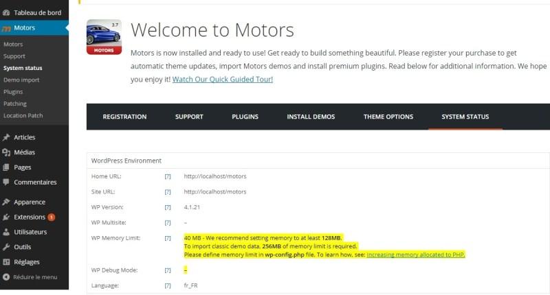 Motors etat du système