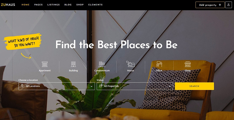 Zuhaus themes wordpress creer site web agence immobiliere