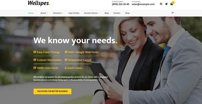 Wellspes Themes Wordpress Creer Site Internet Entreprise Startup Pme