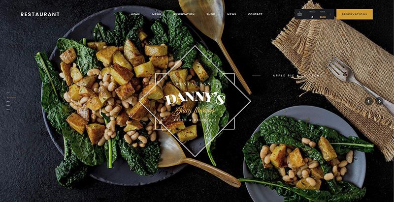 Dannys restaurant themes wordpress creer site internet restaurant traiteur restauration