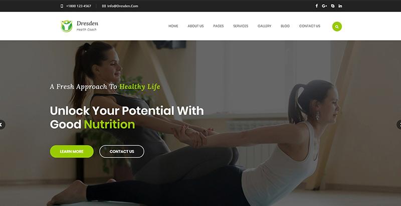 Dresden themes wordpress creer site internet yoga fitness sport