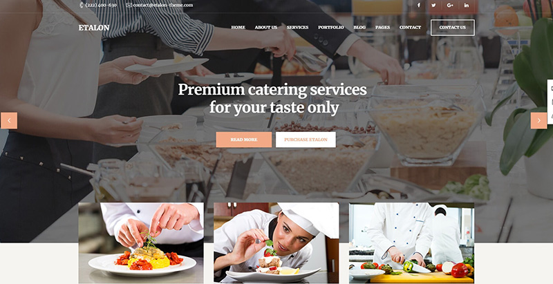 Etalon themes wordpress creer site internet restaurant restaurateur