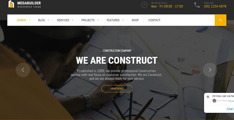 Megabuilder themes wordpress creer site web entreprise construction business