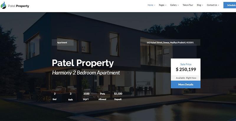 Patel themes wordpress criar site agência imobiliária