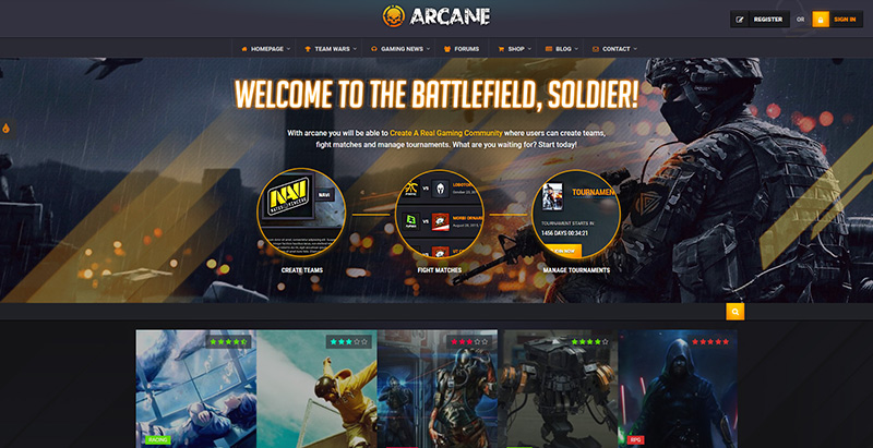 Arcane themes wordpress creer site internet esport jeux videos